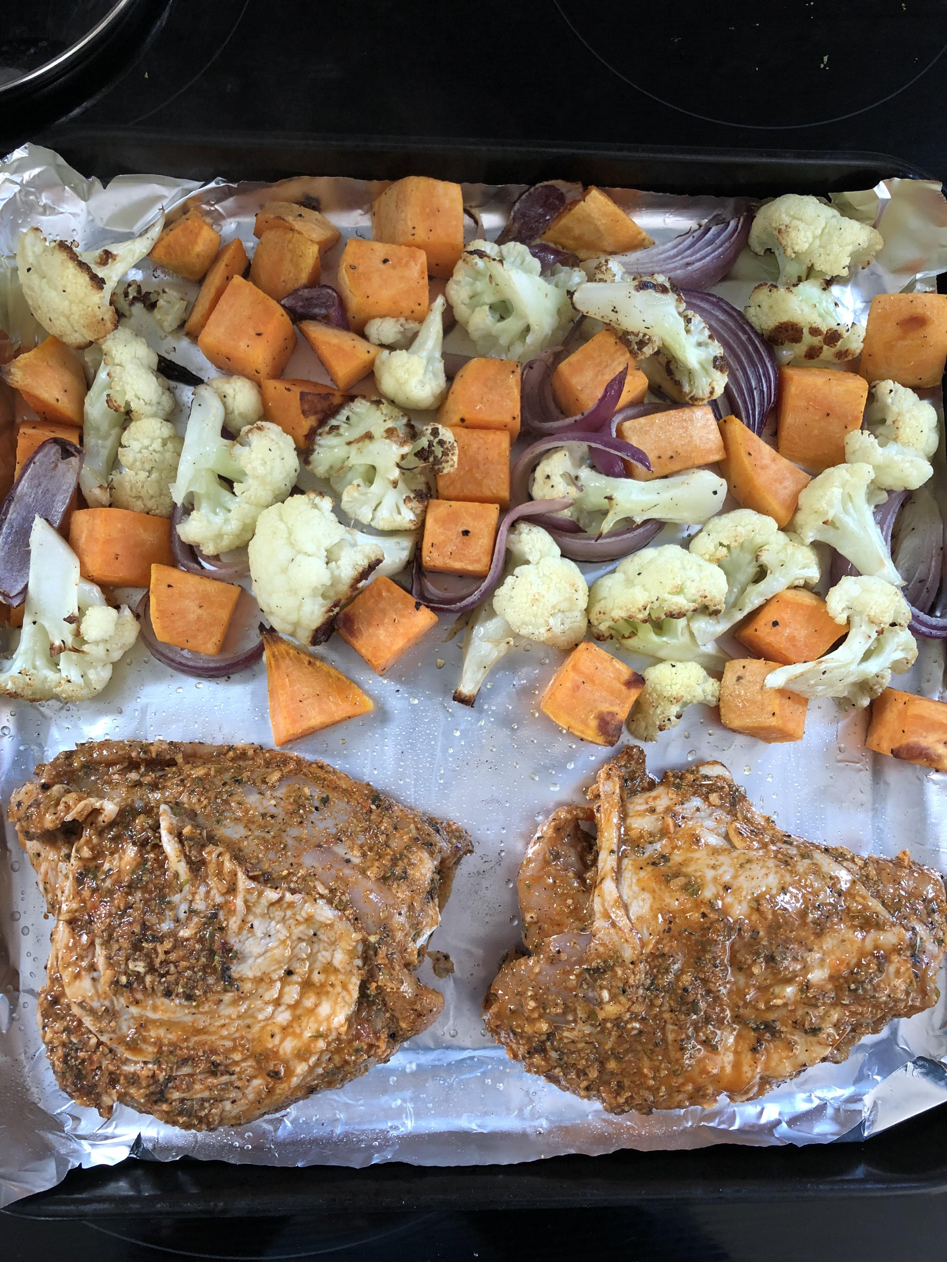 1X Umrühren Bitte Aka Kochtopf peruanische hÄhnchenkeulen mit blumenkohl & sÜsskartoffeln